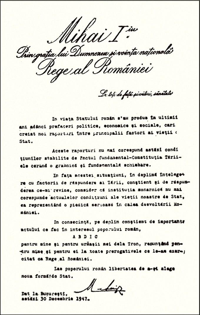 Act Abdicare rege Miha 1947