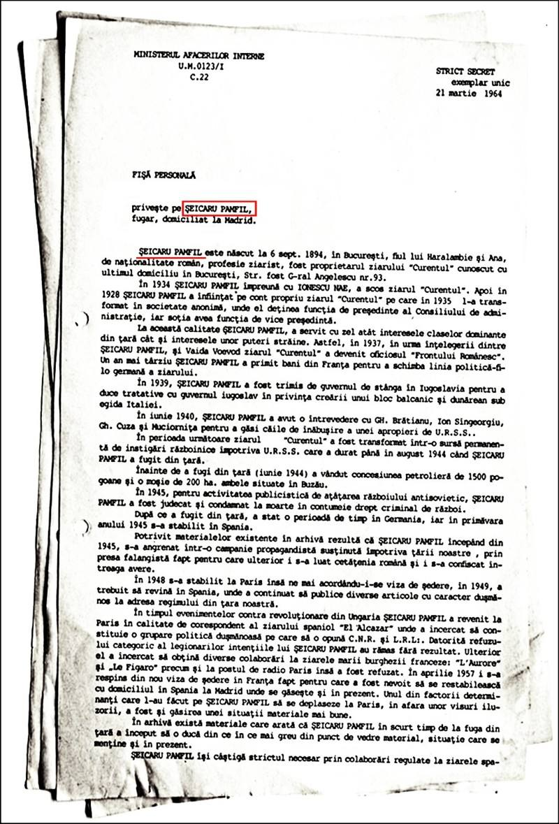 Pamfil Şeicaru, document DSS